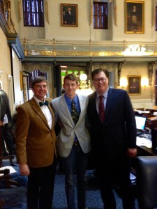 Student, Adam Miller (seen here with Greg Duckworth and Speaker of the House, Jay Lucas) visited the Capitol during his spring break from Thomas Edison State University where he is a Political Science major.